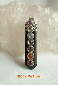 Black Tourmaline Crystal Gemstone Silver Chakra Pendant Chain~Pagan Jewellery