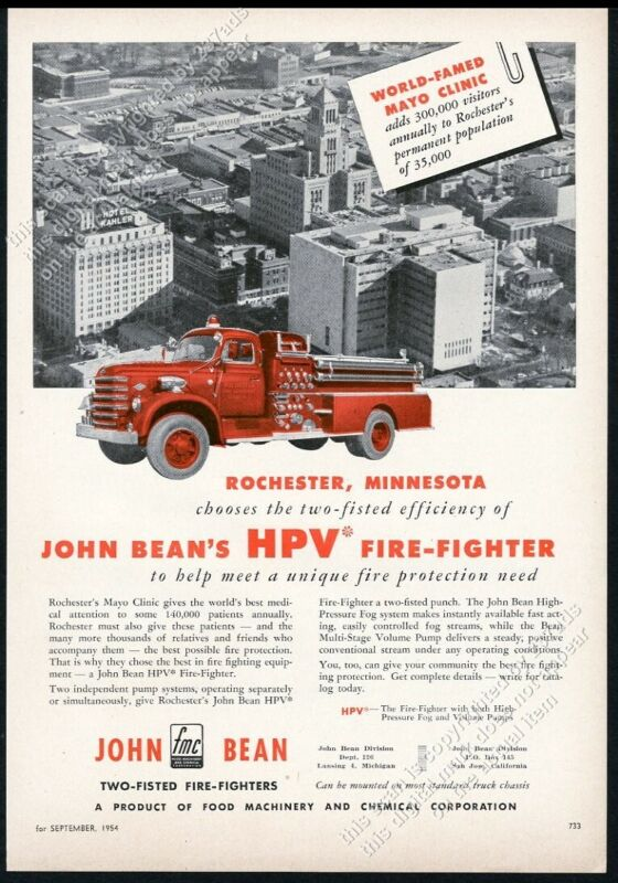 1954 Rochester MN F.D. FMC fire engine truck Mayo Clinic photo vintage trade ad
