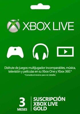 Códigos de 3 meses de Xbox Live Gold