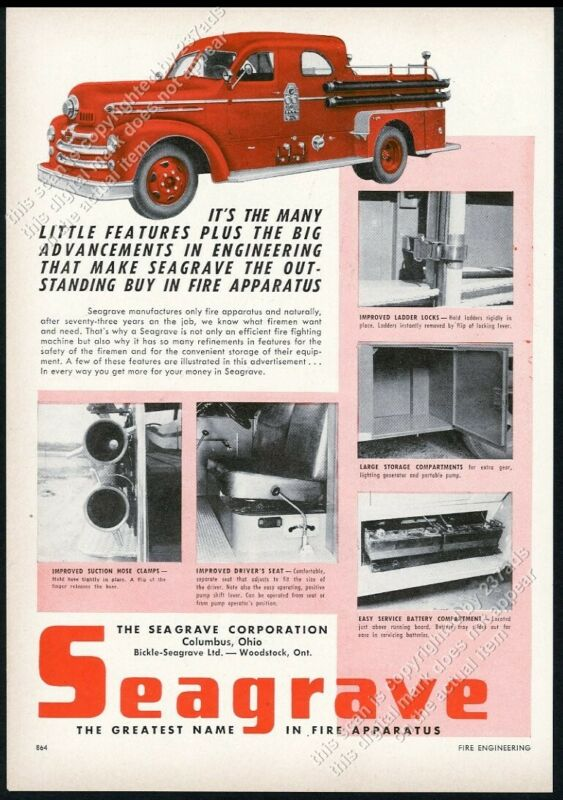 1954 Seagrave fire engine truck 6 photo vintage trade print ad
