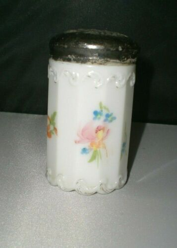 Antique MILK GLASS SHAKER Painted Flowers Ca. 1890