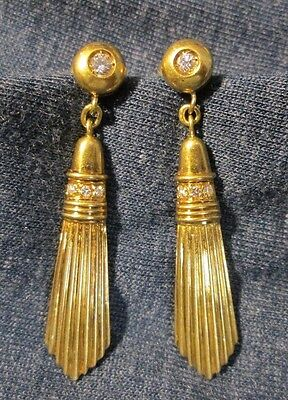 ANTIQUE 18k YELLOW GOLD and DIAMOND EARRINGS--1920-1930 ART DECO