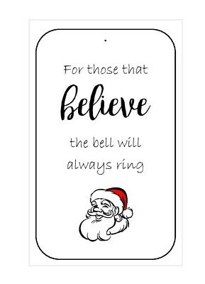 10 x Santa's Magic Bell Tags, Christmas Eve Magic, Believe Labels, - Valentine's Day Fundraiser