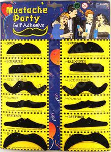 12 Assorted Fake Black Moustache / Mustache Fancy Dress Party Stag Hen!