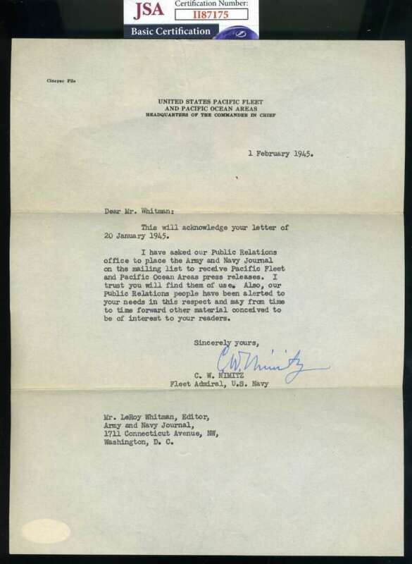 Admiral Chester Nimitz JSA Coa Hand Signed 1945 WWII Dated Letter Autograph