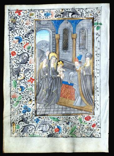 ILLUMINATED MANUSCRIPT BOOK OF HOURS LEAF, c. 1475 PRESENTATION IN THE TEMPLE