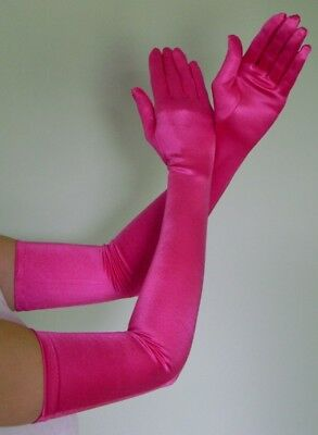 Hot Pink Gloves (OPERA LONG Length Stretch SATIN Gloves HOT)