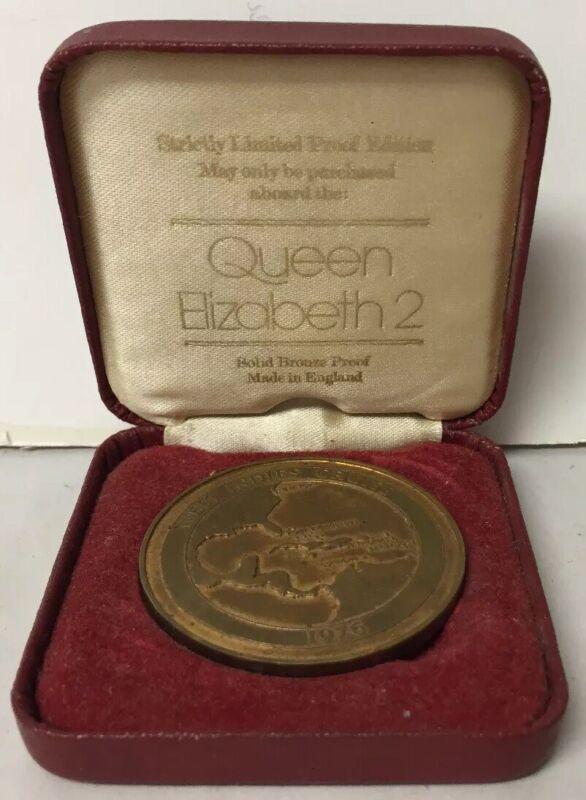 VTG QUEEN ELIZABETH 2 CRUISE SHIP LIMITED EDITION 1976 CASED BRONZE MEDAL COIN