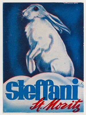 Hotel Steffani ST. MORITZ Bunny Hase * Old Swiss Luggage Label Kofferaufkleber