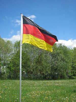 Alu-Fahnenmast Teleskopfahnenmast m. Deutschlandfahne 4 m Alumast Teleskopmast