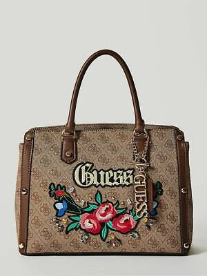 NEW GUESS BROWN BADLANDS EMBROIDERED LOGO SATCHEL BAG HANDBAG