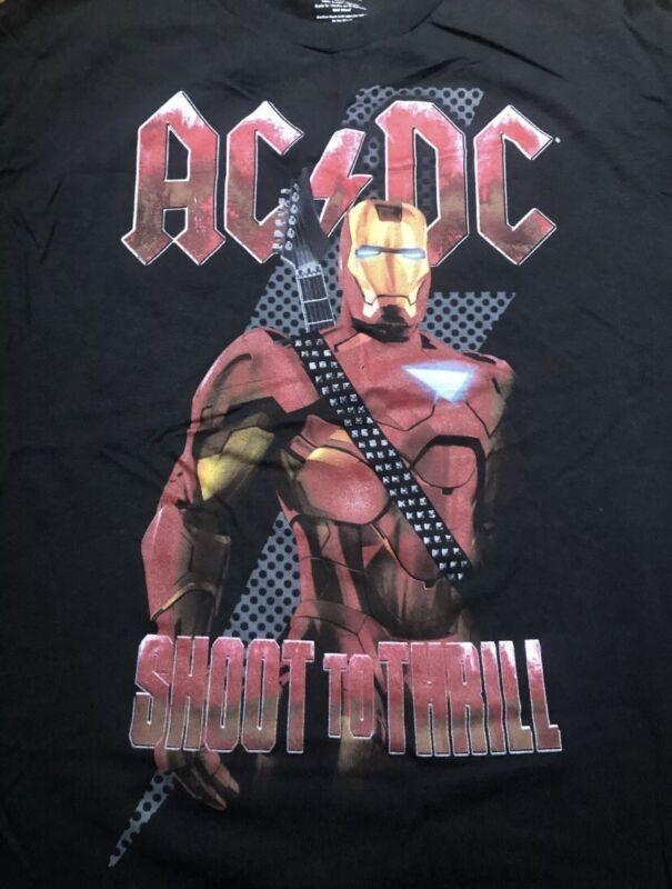 AC DC IRON MAN 2 MARVEL STUDIOS SHIRT SIZE Large BLACK SOUNDTRACK Crossover
