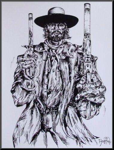 """THE JOSEY WALES II""  OUTLAW""  Western gunfighter portrait art print, drawing."