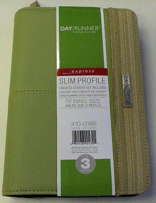 Day Runner Undated Starter Set Included 410-0186 34 Ring Size 3 Green