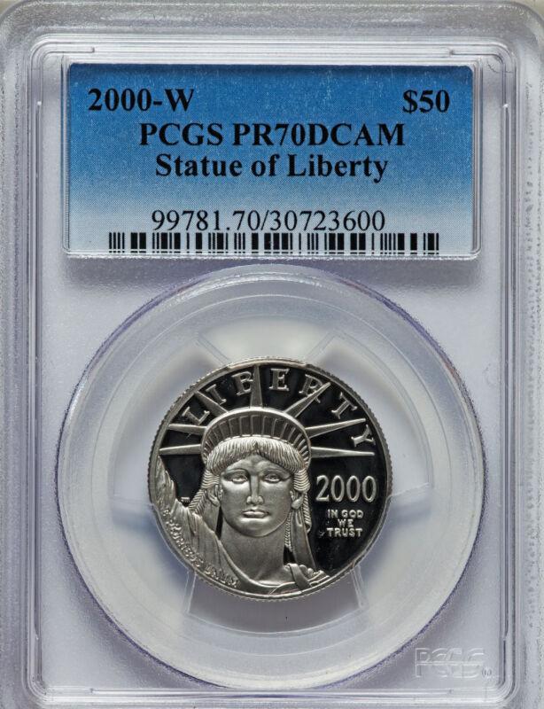 2000-W PLATINUM EAGLE PROOF $50 PCGS PR70 STATURE OF LIBERTY
