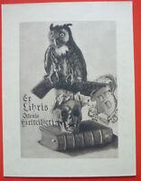Exlibris, Ex Libris Ottonis Hirtreitheri Morte, Gufo, Stemma -  - ebay.it
