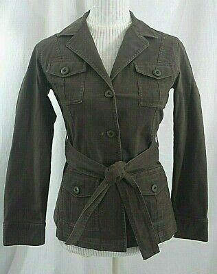 Talbots Belted Jacket Womens 4P Petites Stretch Brown Button Trench Coat Tie EUC