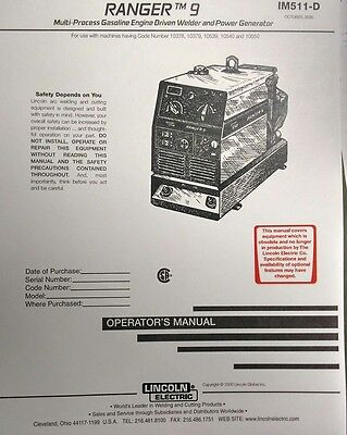 Lincoln Ranger 9 Welder Kohler Ch20 Engine Operator Service 3 Manuals294pg