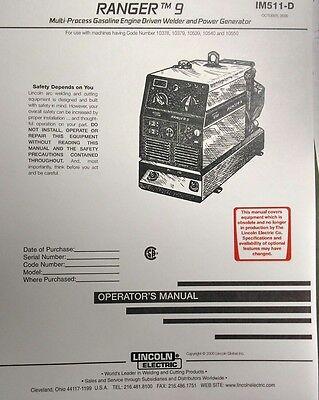 Lincoln Ranger 9 Welder Kohler Ch20 Engine Operator Service 3 Manuals294pg