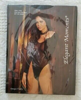 - Elegant Moments OPAQUE TEDDY black long sleeve ONE SIZE FITS MOST 90-160 lbs NEW