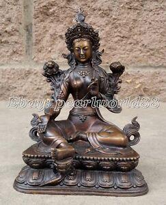 Tibetan Vintage Buddhism Bronze Green Tara God Godness Kwan-yin Buddha Statue