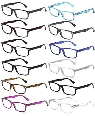 New Clear Lens Glasses Rectangular Frame Spring Hinge Fake Eyewear UV (Fake Lense Glasses)