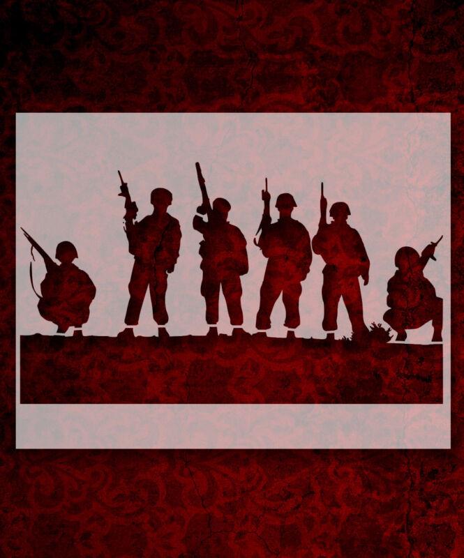 "Soldier Men Rifles 8.5"" x 11"" Stencil FAST FREE SHIPPING (586)"