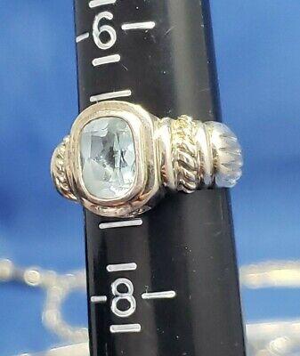Judith Ripka Sterling Silver Blue Topaz Ring Sz 7 london swiss