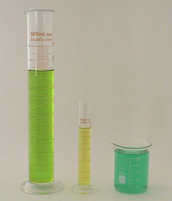 Cylinder Set 500ml 50ml Beaker 250ml Borosilicate Glass Griffin Cylinders Lab