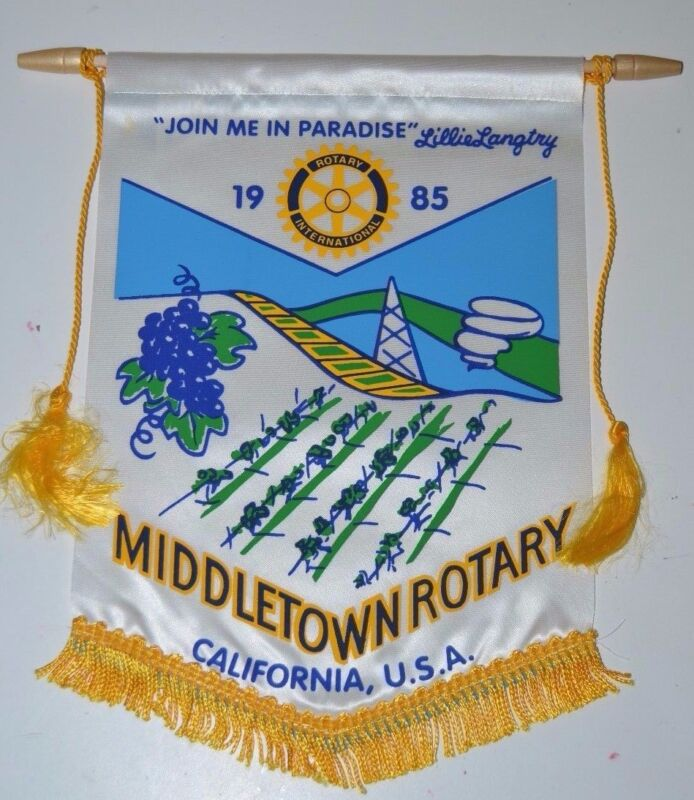 WOW Vintage Middletown California Rotary International Club Banner Flag Wineries