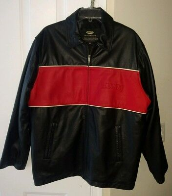LUND Fishing Boats Mens Leather Jacket Made in Canada Tag Medium Actual Large