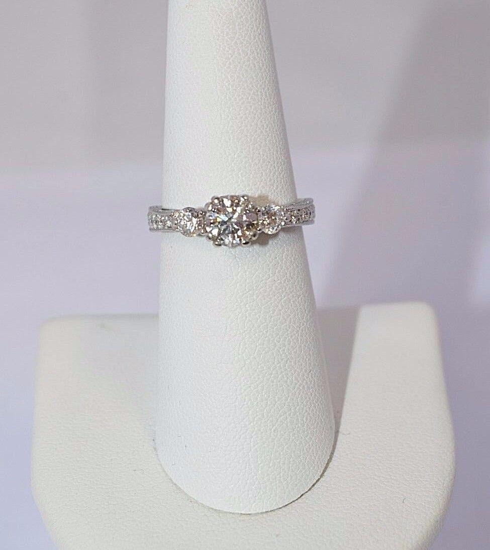 6769- 14K WHITE GOLD 3 STONE DIAMOND ENGAGEMENT RING 5.76 GRAMS GIA CERTIFIED