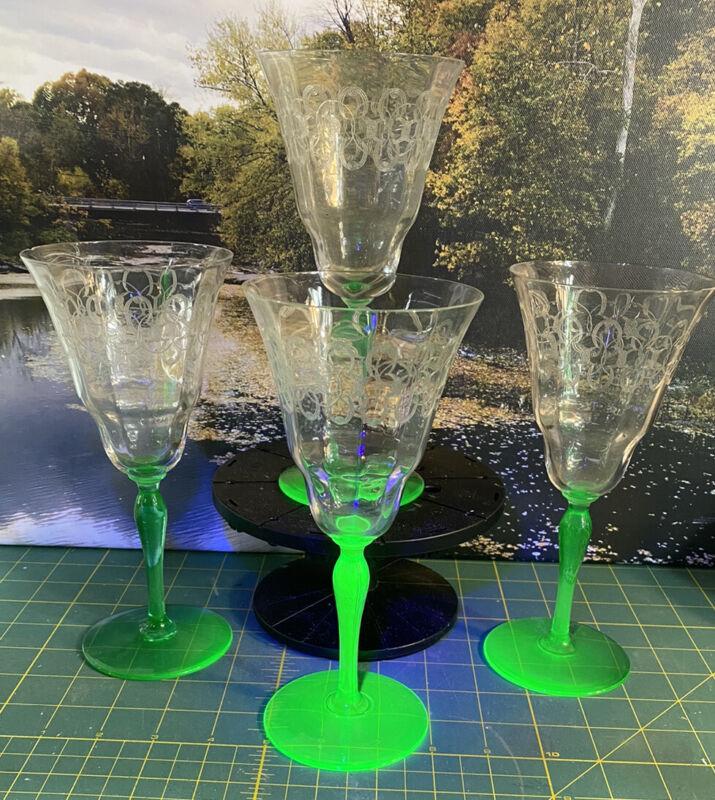 """ANTIQUE VASELINE GLASS ETCHED WINE STEM SET OF4    8.25"""" TALL"""