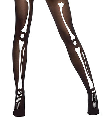 Ladies Skeleton Black and White Bone Print Halloween Fancy Dress Costume Tights