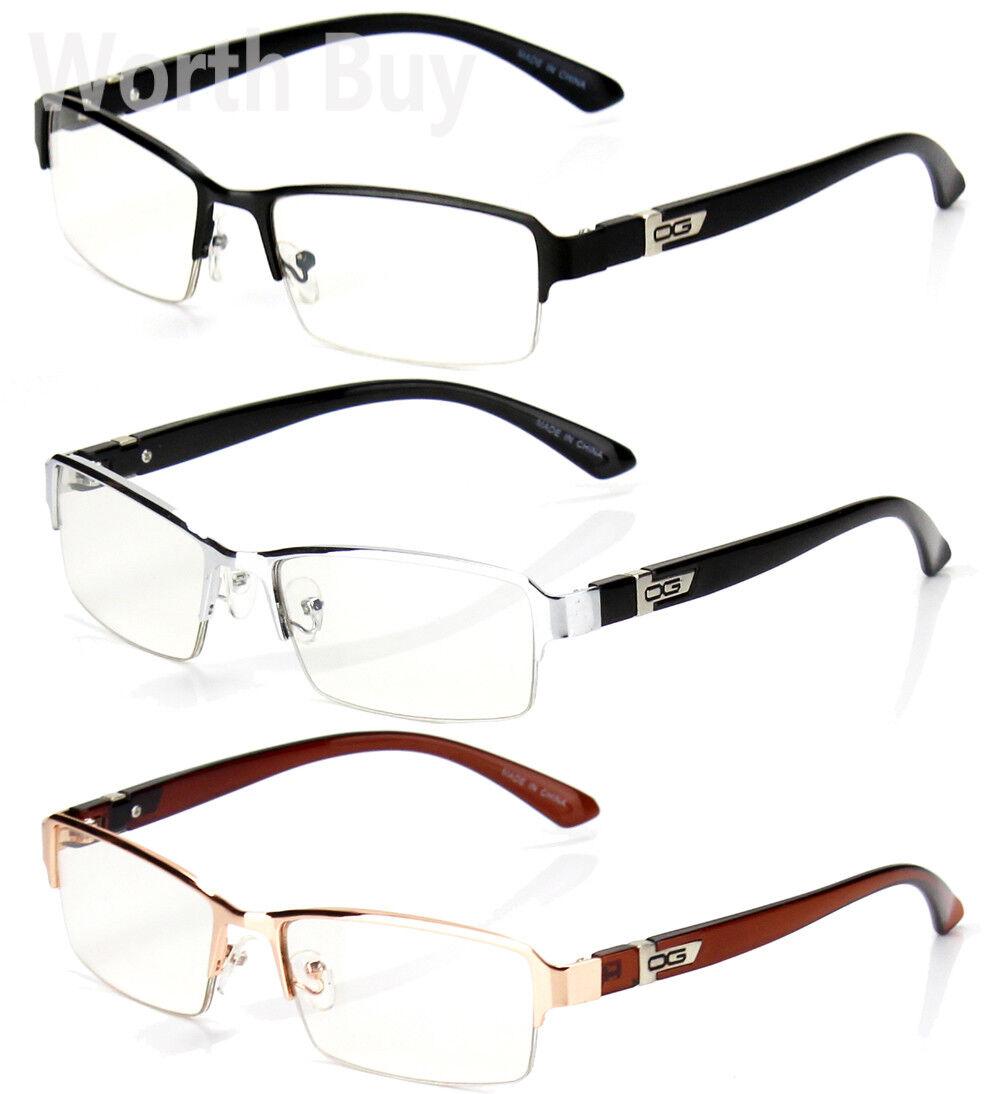 Half Rim Men Women OG Eyewear Clear Lens Frame Eye Glasses D