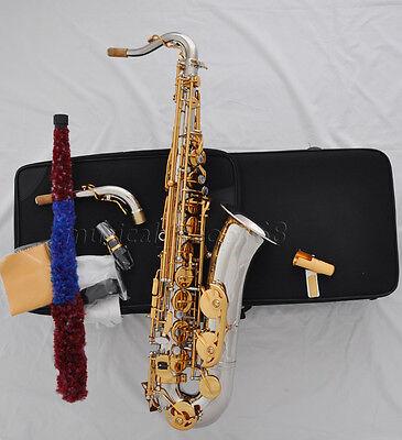 Professional Silver nickel gold key C Melody sax saxophone high F# 2 necks W/cas for sale  China