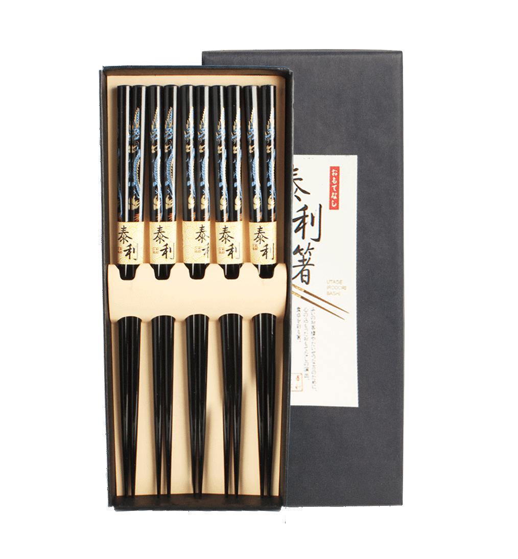 5 Paar Essstäbchen DRACHE Chinesische Stäbchen Chopsticks Set Sushi 6006438