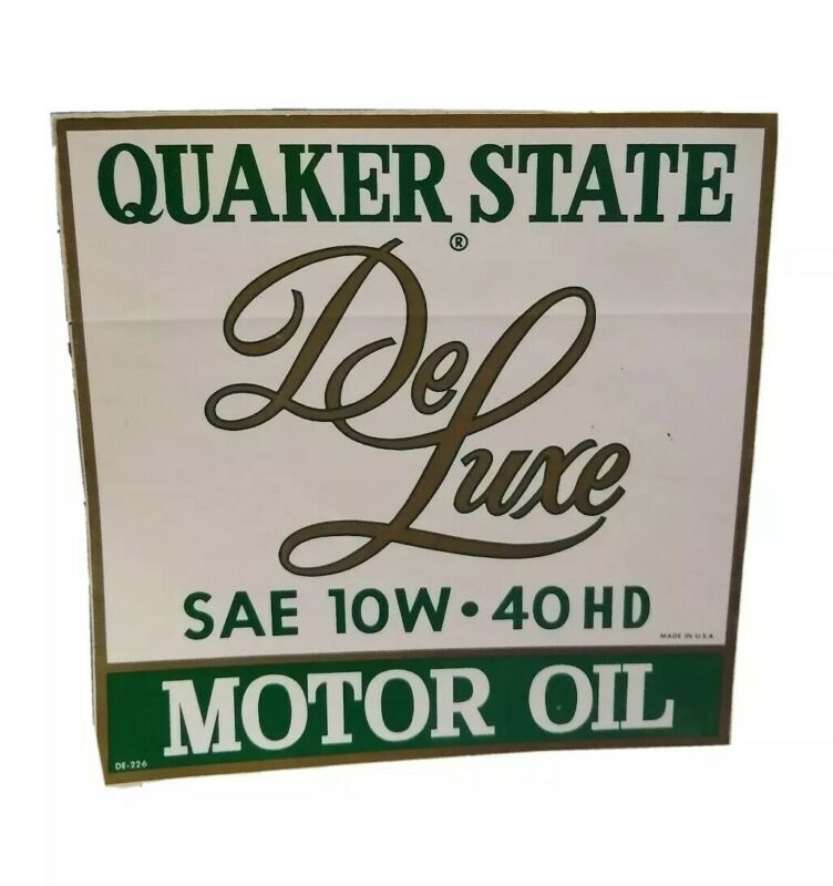 "Vintage Quaker State Deluxe Motor Oil 7"" Square Sticker Label Advertising"