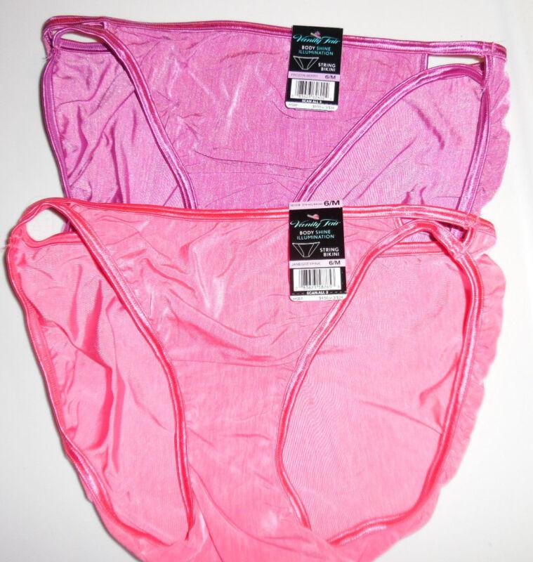 Vanity Fair Bikini Nylon Illumination Panty 6 M 18108 2 Shades of Pink NWT