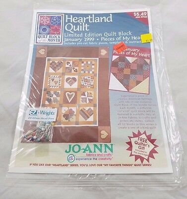 Jo Ann Heartland Quilt Block Of The Month January 1999 Pieces Of My Heart Sealed