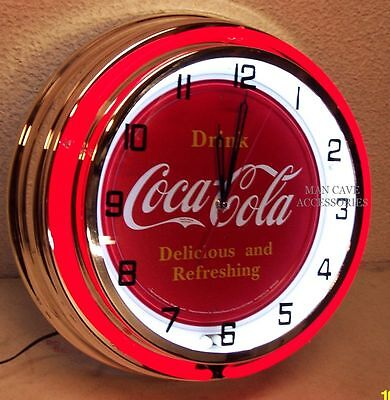 "19"" Drink Coca-Cola Delicious and Refreshing Coke Sign Double Neon Clock"