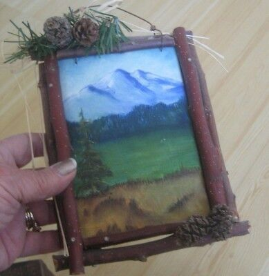 Vtg HANDPAINTED Oil Art MOUNTAIN Picture Twig Pinecone FRAME Lodge CABIN