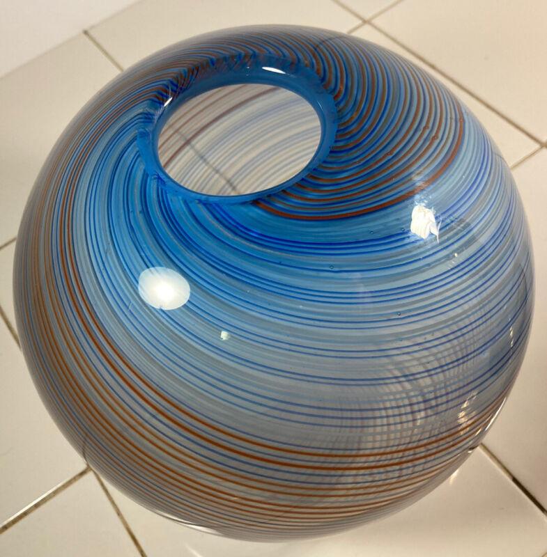 Vintage  Dansk International Art Glass Round Globe Blue Blown Swirl Vase