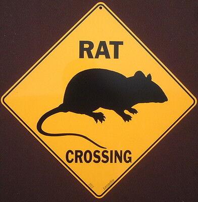 RAT CROSSING SIGN aluminum  decor rats animals novelty home wildlife signs pets