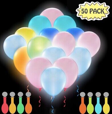 Glow Lights For Parties (50 Pack LED Light Up Balloons, Glow In The Dark Party Supplies Neon For)