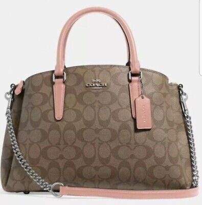 NWT Coach 29683 Sage Carryall Coated Canvas handbag Khaki / Petal