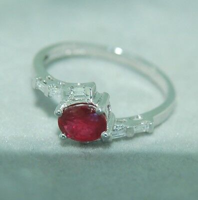 Bypass Baguette Diamond & Oval Ruby Ring in 14KT White Gold 0.35 - Baguettes Bypass