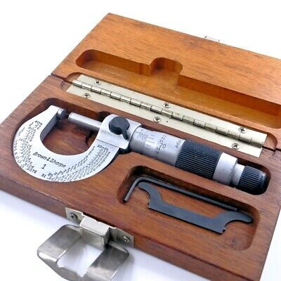 Brown Sharpe No 1 Outside 0-1 Micrometer Carbide .0001 Wrenches Case Swiss