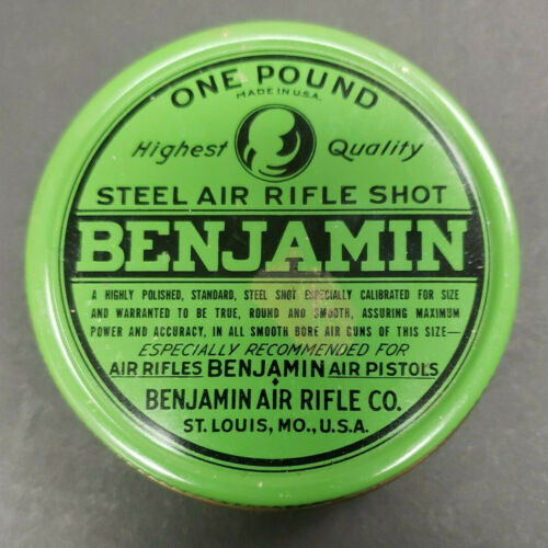 Vintage Benjamin Air Rifle Pistol Steel Shot Empty Tin Benjamin Air Rifle