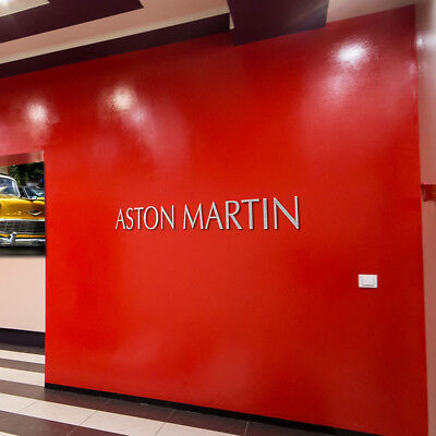 Aston Martin Sign Garage Letters Brushed Silver Aluminum Gift Logo 6 Feet Tall